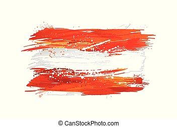vektor, österrike, måla, färgrik, grunge, flagga, texture., smears, gjord, splashes.