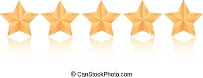 vektor, öt, csillaggal díszít, ikon