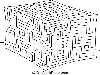 vektor, útvesztő, köb, (labyrinth)