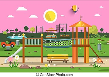 vektor, üres, liget, noha, playground., napnyugta, természet, scene.