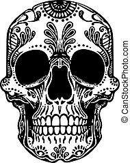 vektor, čerň, neposkvrněný, čepobití, ilustrace, lebka, mexičan