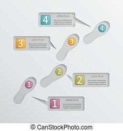vektor, čtyři, infographic, štafle, perforovaný, template.