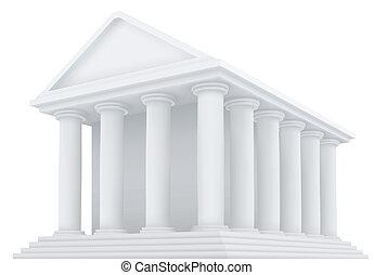 vektor, ősi, épület