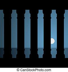 vektor, ősi, holdfény