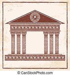 vektor, řečtina, temple.