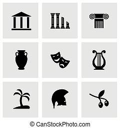 vektor, řecko, ikona, dát