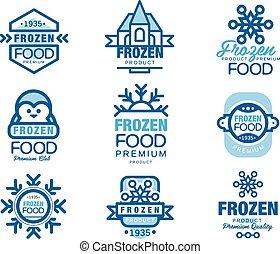 vektor, šablona, strava, emblém, cena, rukopis, nahý, dát, osvětlení, zamrzlý, produkt