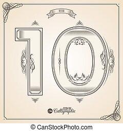 vektor, 10, symbols., umrandungen, bescheinigung, glyph., rahmen, zahl, sammlung, calligraphic, geschrieben, elemente, design, retro, fotn, einladung, feder, hand, decor., symbol.