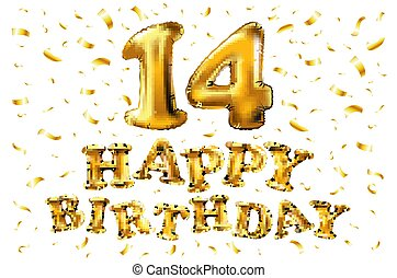 grattis 14 år Guld, år, inbjudan, din, baner, &, årsdag, fira, sväller, lycklig  grattis 14 år