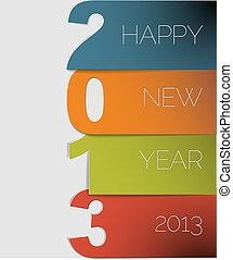 vektor, 2013, år, färsk, kort, lycklig