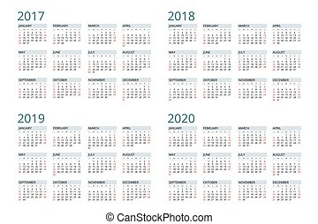 vektor, 2020., 2018, startar, 2019, 2017, kalender, vecka, sunday., enkel, design.