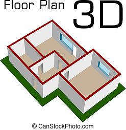 vektor, 3, neobsazený, ubytovat se, plán prostorového...