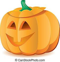vektor, 7, halloween, abbildung, o`lantern, teil, wagenheber, kã¼rbis