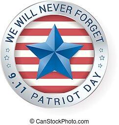 vektor, 9.11, digitális, patrióta, aláír, nap, star., ábra