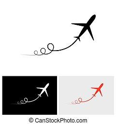 vektor, abbild flugzeugs, ablegen, ausstellung, ihr, pfad, &, geschwindigkeitsüberschreitung, auf