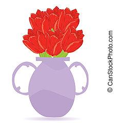 vektor, abbildung, blumen vase