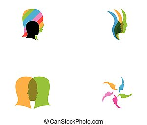 vektor, abbildung, gesicht, menschliche