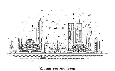 vektor, abbildung, istanbul, stil, linear, skyline