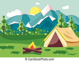 vektor, abbildung, karikatur, camping