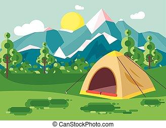 vektor, abbildung, karikatur, natur, nationalpark, landschaftsbild, mit, einsam, zelt, camping, wandern, regeln, von, überleben, büsche, rasen, bäume, tageszeit, sonniger tag, draußen, hintergrund, von, berge, in, wohnung, stil
