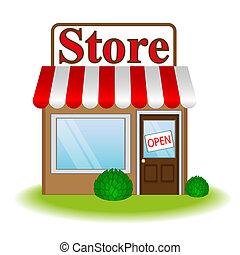 vektor, abbildung, kaufmannsladen, ikone