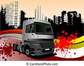 vektor, abbildung, lastwagen