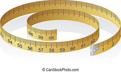 vektor, abbildung, von, a, messendes klebeband, mit,...