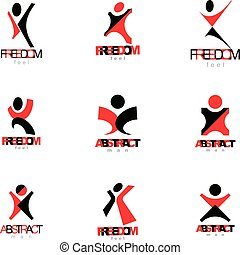 vektor, abbildung, von, aufgeregt, abstrakt, mann, mit, arme, erreichen, auf., erfolgreich, geschäftsperson, illustration.