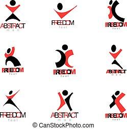 vektor, abbildung, von, aufgeregt, abstrakt, person, mit, aufgezogene hände, auf., kreativ, geschaeftswelt, symbol.