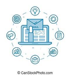 vektor, abbildung, von, gefüllt, fett, grobdarstellung, hand holding, hüllen, und, herauskommen, von, laptop, und, rgeöffnete, e-mail, auf, screen.