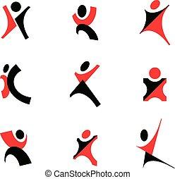 vektor, abbildung, von, glücklich, abstrakt, menschliche , mit, aufgezogene hände, auf., geschaeftswelt, innovation, icon.