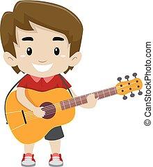 vektor, abbildung, von, kind, junge, besitz, und, spielende , a, gitarre