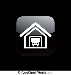 vektor, abbildung, von, ledig, freigestellt, garage, ikone