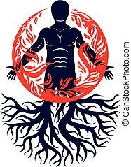 vektor, abbildung, von, mensch, geschaffen, mit, baum, roots., menschliche , und, natur, harmonie, feuer- mann, bedeckt, mit, a, fireball.