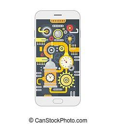 vektor, abbildung, von, smartphone, mit, verschieden, steampunk, weinlese, zähne, zahnräder, und, waage, innenseite., technologie, concept.