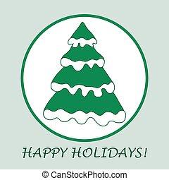 vektor, abbildung, von, weihnachtsbaum, mit, schnee, auf, der, zweige, in, a, circle.