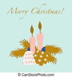vektor, abbildung, weihnachtsdeko, bunte