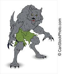 vektor, abbildung, werwolf