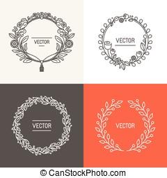 vektor, abstrakt, logo, designmallar, med, avskrift tomrum