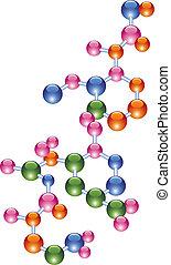 vektor, abstrakt, molekül
