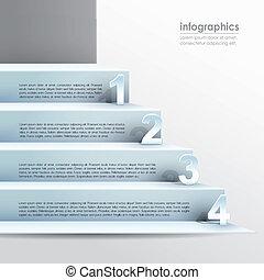 vektor, abstrakt, papper, 3, infographics