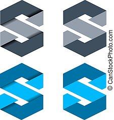 vektor, abstrakt, papper, brev s, symb