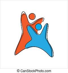 vektor, abstrakt, schablone, design., begriff, logo, symbol, 2 leute, zusammen, hände, zwei, motiviert, einheit