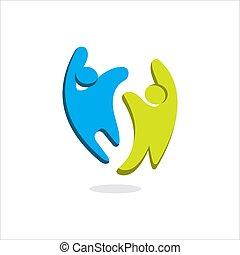 vektor, abstrakt, schablone, gemeinschaft, logo, symbol, 2, glücklich, oder, zeichen, leute, wohltätigkeit, zwei, design, einheit