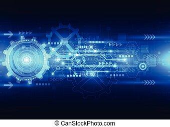 vektor, abstrakt, technik, zukunft, technologie, elektrisch,...
