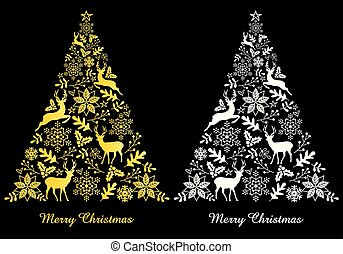 vektor, abstrakt, weißes, goldbäume, weihnachten