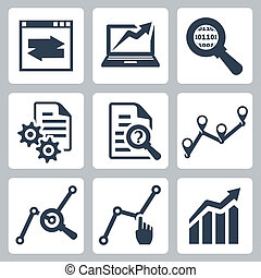 vektor, adatok, analízis, ikonok, állhatatos