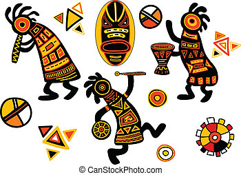 vektor, afrikai, hagyományos, példa