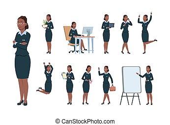 vektor, afro-american kvinde, kontor branche, character., arbejder, forskellige, sæt, kvindelig professionel, activity., opstille, cartoon, sekretær