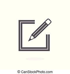 vektor, aláír, feláll, ikon